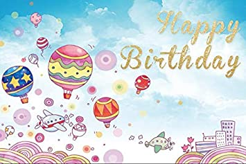 Yeele Birthday 6x4ft Photography Background Cartoon Yellow Dust Party Decoration Fairy Tale World Colorful Balloon Photo Backdrop Baby Child Portrait Shooting Studio Props