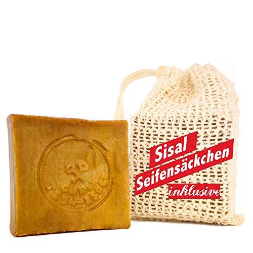 Natura Germania ca. 200 gr. Olivenölseife + Sisal Seifensäckchen - Haarseife, Rasierseife, geeignet für unreine Haut, Ohne Zusatz von Chemie, Handarbeit nach altem Rezept