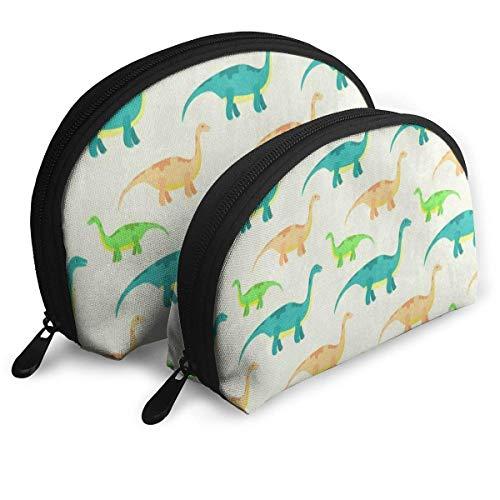 Bolsa de maquillaje Acuarela Dinosaurio Animal Print Portable Shell Clutch Pouch para mujeres Travel 2 Pack