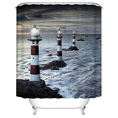 Fangkun Shower Curtain Decor Set - Nautical Lighthouse Reef Waterscape Print - Polyester Fabric Bath Curtains - 12 pcs Shower Hooks - 72 Inches Long - 72 x 72 inches