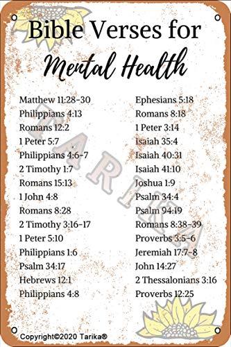 Versículos de la Biblia para la salud mental de 20,3 x 30,4 cm, aspecto vintage, decoración de arte para el hogar, cocina, baño, granja, jardín, garaje, citas inspiradoras, decoración de pared