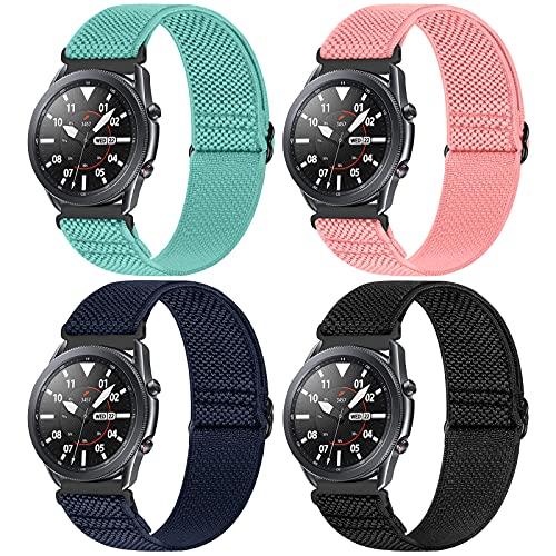 WNIPH 4 Stück 22mm Armband Kompatibel mit Samsung Galaxy Watch 46mm Armband/Galaxy Watch 3 45mm/Gear S3 Frontier/Gear S3 Classic, 22mm Einstellbar Elastisch Nylon Solo Loop Sport Ersatzband