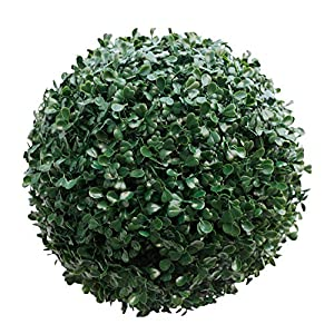 Silk Flower Arrangements SunnyRoyal Topiary Ball Artificial Outdoor Boxwood Balls Topiary Lifelike Plants, Round Topiary for Indoor/Outdoor Decore, Boxwood 15 Inch, 1 Piece