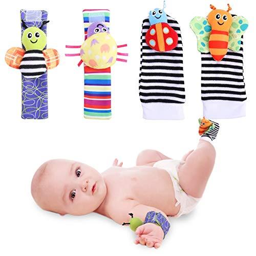 Phoetya Juego de calcetines para bebé sonajero para encontrar pies, 4 piezas, suave correa de muñeca sonajeros para recién nacidos, juguetes para bebés y niñas