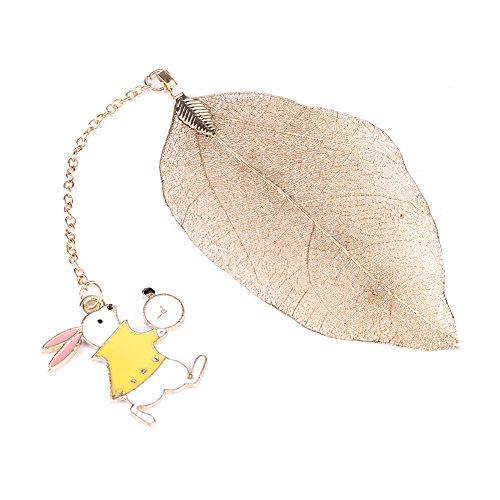 1PC delicate oro in metallo a forma di foglia segnalibro ultra Thin creative Cartoon page-marker regali di Natale con Alice/coniglio/orologi accessori per book-reading lovers & Kids, Rabbit
