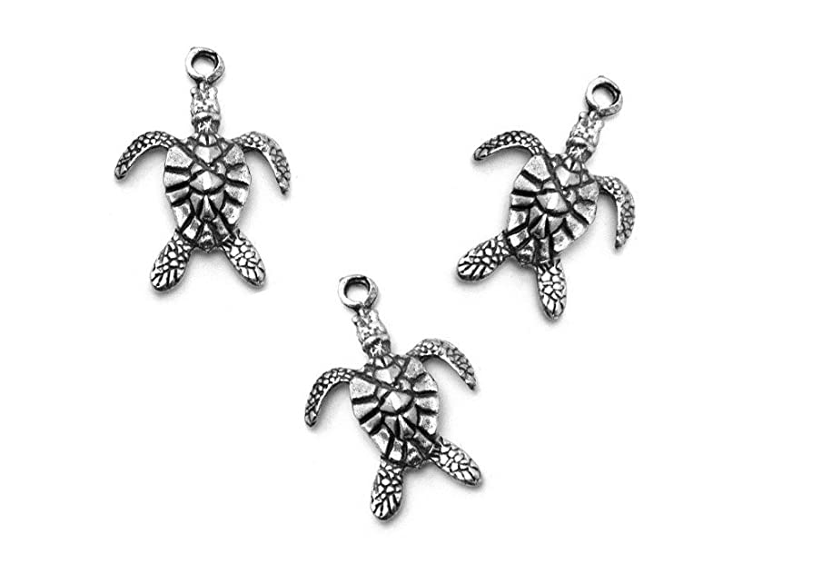 PlanetZia 6pcs Sea Turtle Charms USA Made for Jewelry Making (Antique Silver)