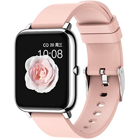 """RKINC Smart Watch, Fitness Trackers with Step Calorie Counter Sleep Monitor Activity Tracker, IP67 Waterproof Smartwatch 1.4"""" Full Touch Color Screen, Smart Bracelet Pedometer for Women and Men (Pink)"""