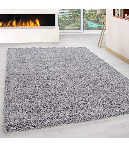Carpettex Teppich Tapis Shaggy à Poils Longs Couleur Unique differentes Couleurs et Tailles Disponible - Gris Clair, 120x170 cm