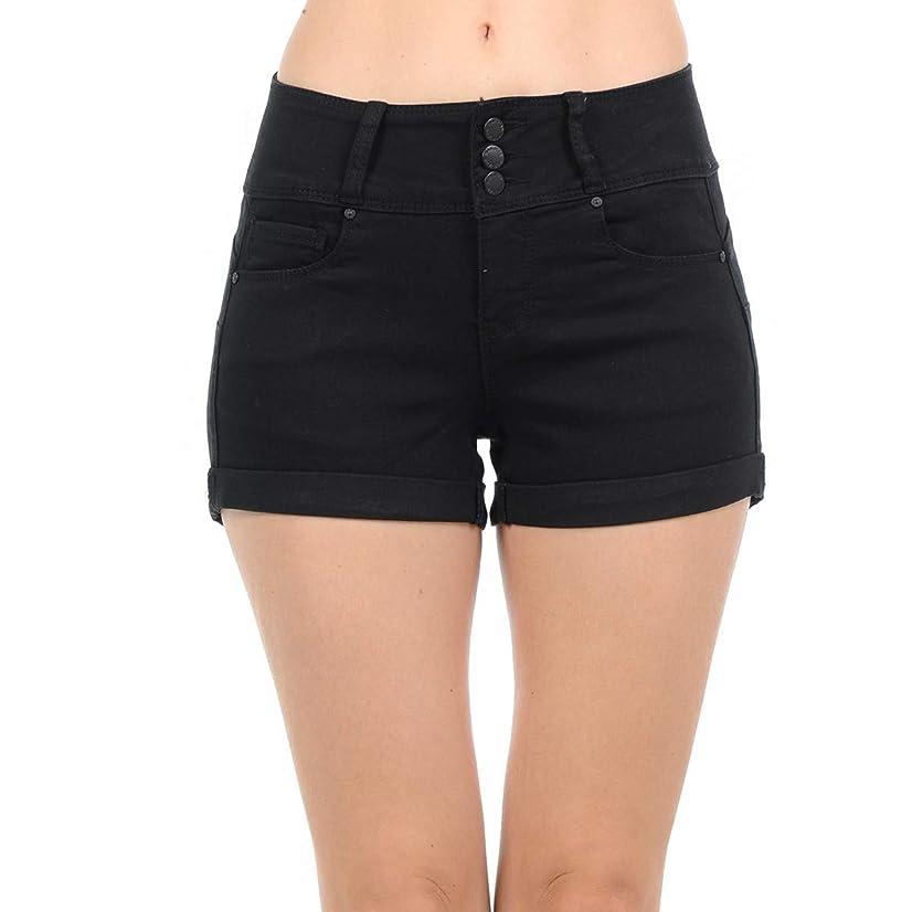 Wax Jeans Women's Juniors Cuffed Hem Denim Shorts (Butt I Love You)