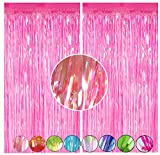Pink Foil Fringe Curtain Party Decor,CYLMFC 2 Pack 3.3ftx.6.6ft Metallic Tinsel Fringe Curtain Background Backdrop Shimmer for Baby Shower Birthday Wedding Christmas Disco Props - Iridescence Pink