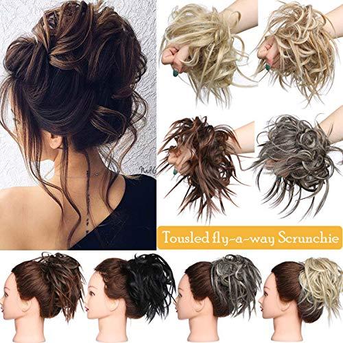 Hair Extensions XXL Haarteil Haargummi Hochsteckfrisuren Brautfrisuren VOLUMINÖS gewellter unordentlicher Dutt Scrunchie Dunkelschwarz