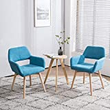 Homy Grigio Modern Living Dining Room Accent Arm Chairs Club Guest with Solid Wood Legs(Set of 2,Teal)