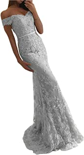 EVANKOU Damen 2019 Elegant Off Shoulder Abendkleid Spitzen Hochzeitskleid Meerjungfrau Ballkleid lang