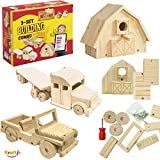 Kraftic Woodworking Building Kit for Kids and Adults, with 3 Educational DIY Carpentry Construction Wood Model...
