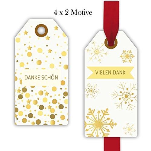 Kartenkaufrausch 32 edle Dankes Geschenkanhänger farbig, Papieranhänger, Hängeetiketten, Hangtag-Set, auch für Weihnachten: Danke schön | Vielen Dank • um Geschenke schöner zu schenken