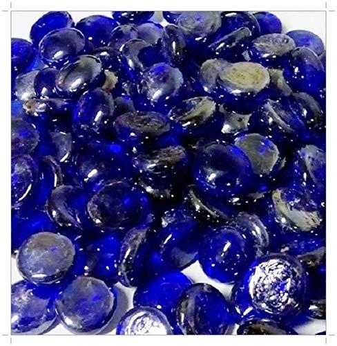 SOOTHING IDEAS 1kg Glass Pebbles Dark Blue 20mm Home Garden Aquarium Wedding Memorial (approx 230)