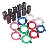 Sunboia 10x1M Flessibile di EL Wire Neon Luce Dance Party Decor + controller per feste e decorazione di Halloween Natale-Blu,Rosso,Verde,Bianco,Rosa