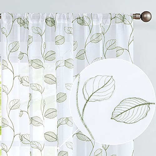 Sage Sheer Curtains for Living Room Leaf Embroidered Pole Top Window Curtain Drapes Botanical Geometric Embroidery Semi-Sheer Curtains for Bedroom 2 Panels 72 inch