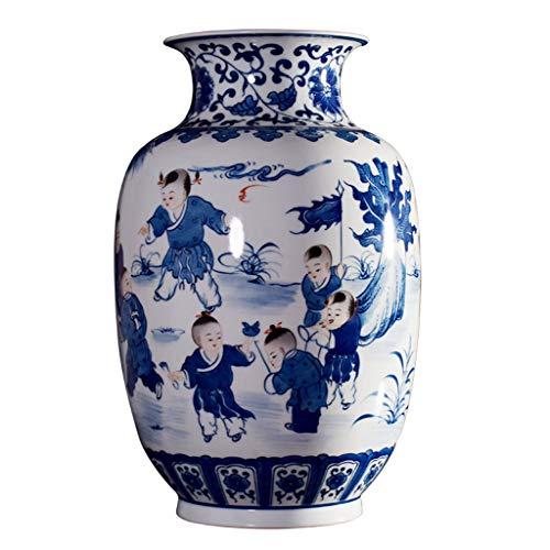 Vase Jarrón Azul chino de la vendimia y blanco de porcelana, carácter de la diversión florero, de gran capacidad de flores del arte, el arte la decoración del hogar, decoración for la sala Jarrón de E