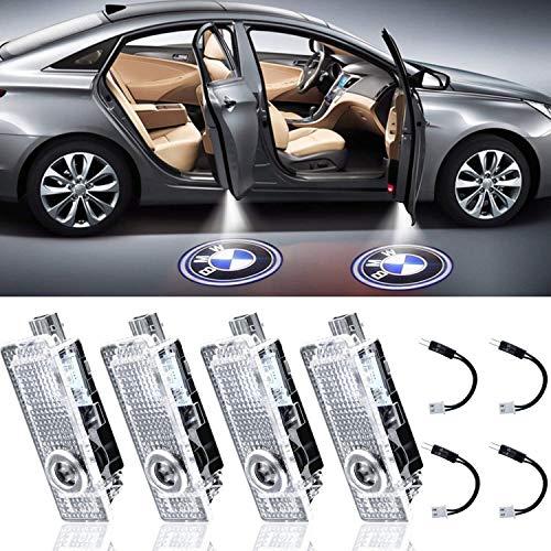 PRXD Paquete de 4 luces LED para puerta de coche, luces de bienvenida láser LED con logotipo de luz de sombra fantasma compatible con accesorios BMW Serie X1 / X3 / X4 / X6 / 3/4/5/6/7 / Z / GT