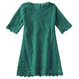 Niyage Baby and Toddler Girls Cotton Elegant Flower Lace Half Sleeve A-Line Princess Dress Dark Green 100