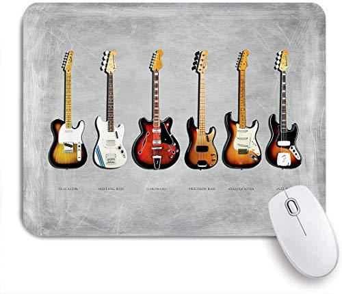 FOURFOOL Alfombrilla de Ratón,Stratocaster Telecaster precisión Bass Mustang Bass Guitarra eléctrica música,Base de Goma Antideslizante Alfombrilla para PC y Portátil 240x200 mm