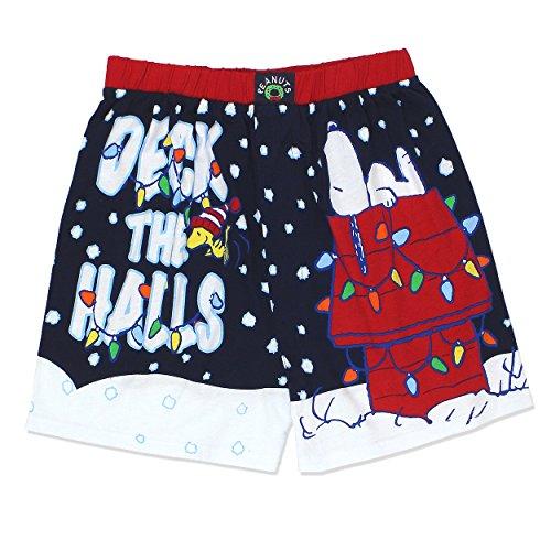 Peanuts Snoopy Charlie Brown Christmas Holiday Mens Boxer Shorts Boxers (Small, Navy)