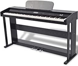 vidaXL 88-Key Digital Piano w/Pedals Black Melamine Board Ke