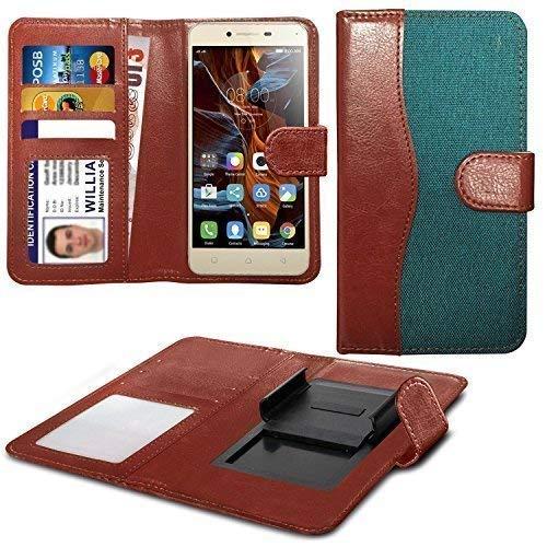 N4U Online Various Farben Clip auf Dual Faser Buch Schutzhülle Hülle für HTC Desire 620G Dual SIM - Grün