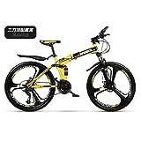 Vélo de Course Pliant,Vélo de cross-country pliant en acier à haute teneur en carbone,vélo de frein à double disque à 27 vitesses,vélo de montagne à suspension complète-Jante 26 '' à 6 rayons_Jaune