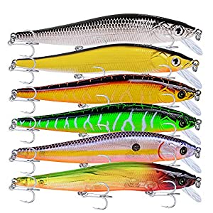 PROBEROS Minnow Bass Fishing Lures - Jerkbait Sinking Lure Set Hard Baits Crankbait for Trout Catfish Musky Bluegill Fishing Plug 6Pcs/kit