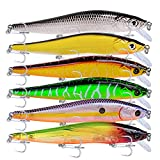 PROBEROS Minnow Bass Fishing Lures - Jerkbait Sinking Lure Set Hard Baits Crankbait for Trout Catfish Musky Bluegill Fishing Plug 6Pcs\/kit