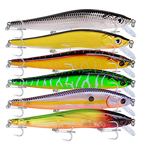 PROBEROS Minnow Bass Fishing Lures - Jerkbait Sinking Lure Set Hard Baits Crankbait for Trout...