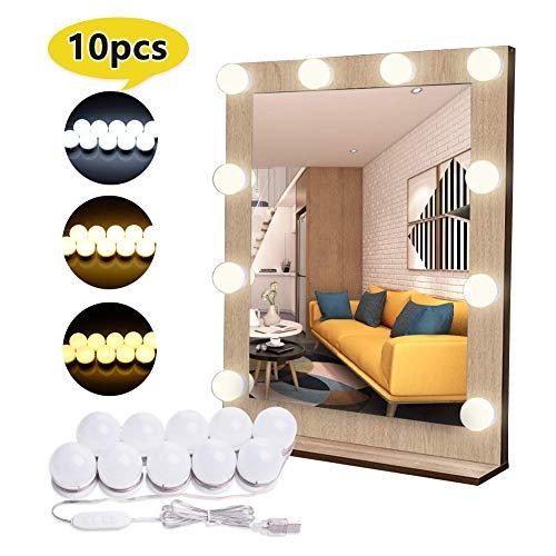 Flybiz Hollywood-Stil LED Spiegelleuchte für Schminkspiegel, Schminktisch Spiegel Lichter für Kosmetikspiegel licht, Spiegel Nicht Inbegriffen, 10 LED-Lampen mit Dimmfunktion