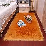 GLITZFAS Alfombra de piel de cordero sintética, imitación de pelo largo, alfombra para cama o sofá, 60 x 90 cm, color naranja