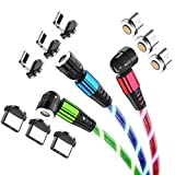 YICHUMY Câble de charge magnétique 3 en 1 à LED - 1,8 m - Micro USB/USB de type C - Câble de...