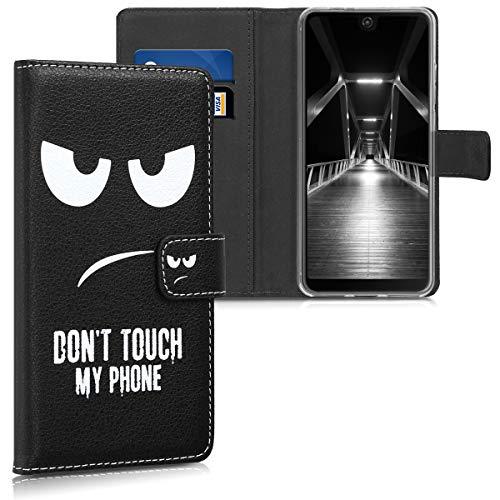 kwmobile Wiko View 2 Hülle - Kunstleder Wallet Case für Wiko View 2 mit Kartenfächern & Stand - Don't Touch My Phone Design Weiß Schwarz