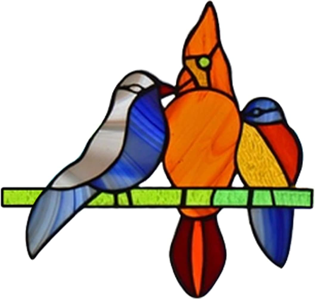 1 PC Birds On Branches - Wind Style Stickers Cheap mail order shopping Challenge the lowest price of Japan Stained Heavy Glass