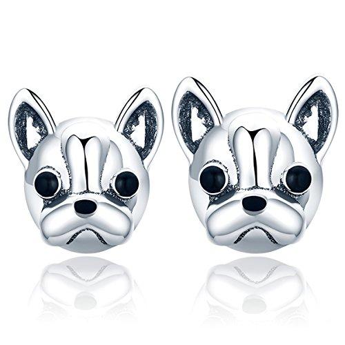 Presenski Ohrringe Silber Stecker,Damen Ohrstecker 925 Sterling Silber mit Hund Bulldogge Geschenk für Weihnachten,Frauen,Mädchen