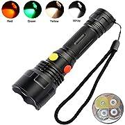 4 Farben in 1 LED-Taschenlampe mit rotem/grünem/weißem/gelbem Licht, BESTSUN-Taschenlampen mit mehreren Farben für Nachtsicht, Astronomie, Wandern, Angeln, Camping