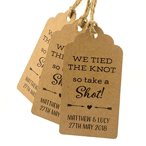 Summer-Ray 50pcs Brown Kraft Personalized Mini Royale We Tied The Knot So Take A Shot Wedding Favor Gift Tags