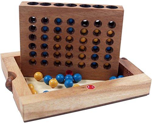 Guru-Shop Brettspiel, Gesellschaftsspiel aus Holz - Vier Gewinnt Bingo, Braun, 3x17x13 cm, Brettspiele & Geschicklichkeitsspiele