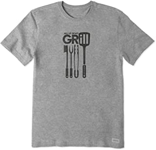 Life is Good Men's Ss All Up in My Grill Heather Gray L
