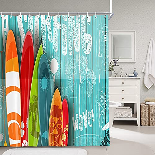 Beach Shower Curtains for Bathroom, Summer Surf Nautical Surfing Surfboard Bathroom Curtains, Tropical Colorful Surfboard in Vintage Style on Teal Wooden Fabric Shower Curtain Set with Hooks, 69X70in