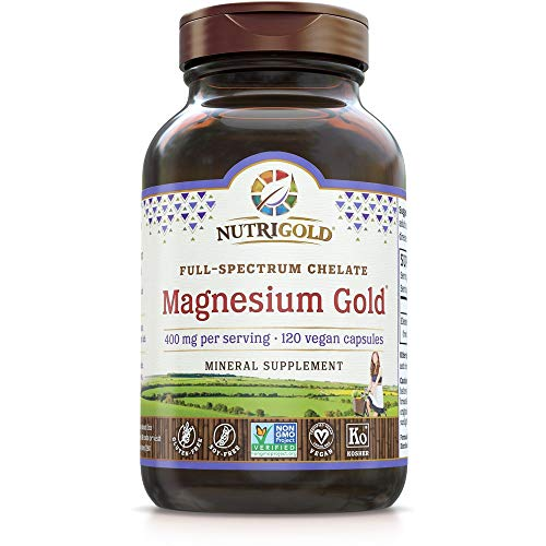 Nutrigold Chelated Supplement, 400 Mg, Highly Bioavailable Full-Spectrum Chelate Better Than Magnesium Glycinate, Malate, or Oxide, 120 Vegan Capsules
