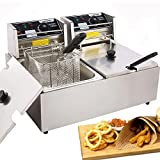 Casulo Electric Deep Fryer with Removable 2 x Basket & Lid, 12L Commercial Deep Fryers 12.7QT Stainless Steel Electric Deep Fryer for Turkey, French Fries, Donuts and More