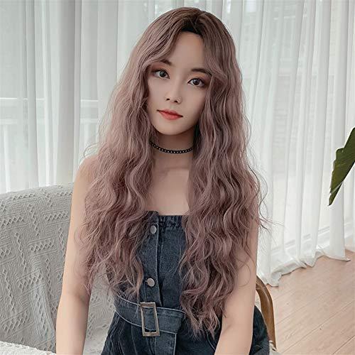 MADONG Le Japon et la Corée du Sud cheveux longs femme perruque nouvelle casquettes de tous les bangs carve rouleau de laine sans maïs chaud commerce place (Color : Black brown 63CM)