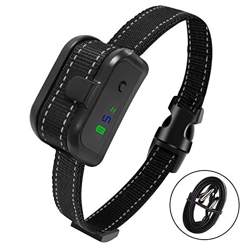 zenvey Dog bark Collar Automatic Anti-bark Collar with 9 Adjustable Sensitivity Levels, Smart Chip Adjusts to Stop Barking in 1 Minute - Highly Effective Vibration and Sound Stops Bark (Black)