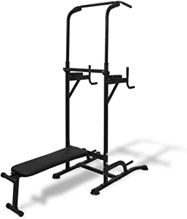 vidaXL Power Tower with Sit-up Bench Station Exercise Weight Lifting Machine
