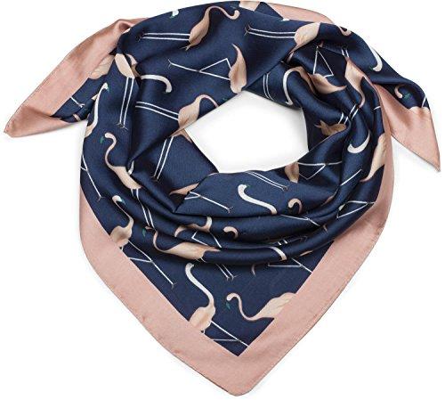 styleBREAKER seidiges Vierecktuch mit Flamingo Print und farblich abgesetztem Rand, Tuch, Halstuch, Kopftuch, Damen 01016164, Farbe:Blau-Rose